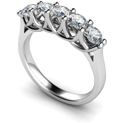 HRRTR212 Round 5 Stone Diamond Ring - white