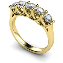 HRRTR212 Round 5 Stone Diamond Ring - yellow
