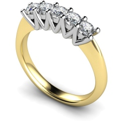 HRRTR213 Round 5 Stone Diamond Ring - yellow