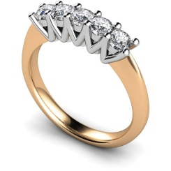 HRRTR213 Round 5 Stone Diamond Ring - rose