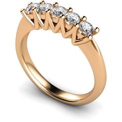 HRRTR213 Round 5 Stone Diamond Ring - rose