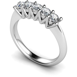 HRRTR213 Round 5 Stone Diamond Ring - white