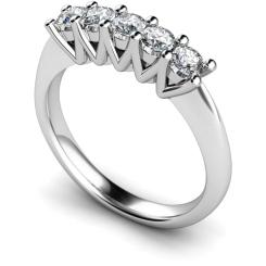 HRRTR213 Round 5 Stone Diamond Ring - white