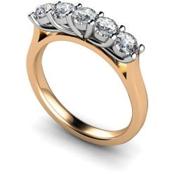 HRRTR215 Round 5 Stone Diamond Ring - rose