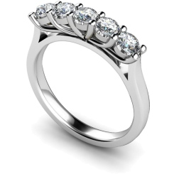 HRRTR215 Round 5 Stone Diamond Ring - white