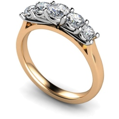 HRRTR217 Round 5 Stone Diamond Ring - rose