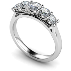 HRRTR217 Round 5 Stone Diamond Ring - white