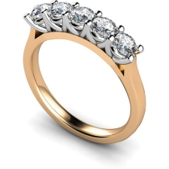 HRRTR220 Round 5 Stone Diamond Ring - rose