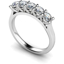 HRRTR220 Round 5 Stone Diamond Ring - white
