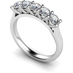 HRRTR220 Round 5 Stone Diamond Ring - white
