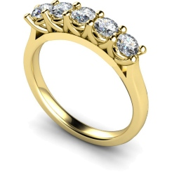 HRRTR220 Round 5 Stone Diamond Ring - yellow