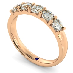 HRRTR221 Round 5 Stone Diamond Ring - rose
