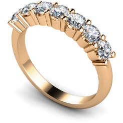 HRRTR223 Round 7 Stone Diamond Ring - rose