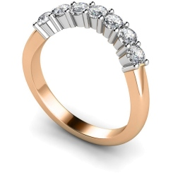 HRRTR224 Round 7 Stone Diamond Ring - rose