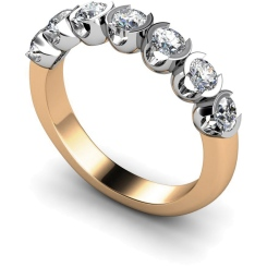 HRRTR226 Round 7 Stone Diamond Ring - rose
