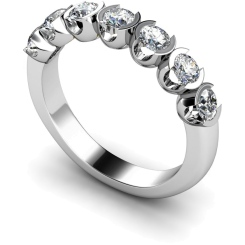 HRRTR226 Round 7 Stone Diamond Ring - white