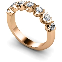 HRRTR226 Round 7 Stone Diamond Ring - rose