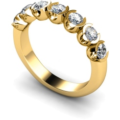 HRRTR226 Round 7 Stone Diamond Ring - yellow