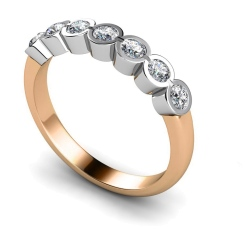 HRRTR227 Round 7 Stone Diamond Ring - rose