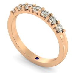 HRRTR228 Round 7 Stone Diamond Ring - rose