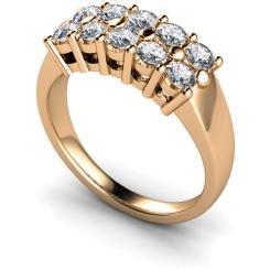 HRRTR230 Round Cluster 10 Stone Diamond Ring - rose
