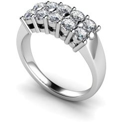 HRRTR230 Round Cluster 10 Stone Diamond Ring 1.05ct / D-E / VS2 / IGL - white