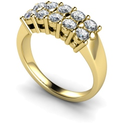 HRRTR230 Round Cluster 10 Stone Diamond Ring - yellow