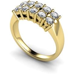 HRRTR230 Round Cluster 10 Stone Diamond Ring - yellow