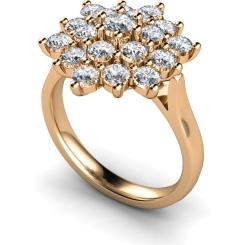 HRRTR240 Round Cluster Diamond Ring - rose