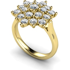HRRTR240 Round Cluster Diamond Ring - yellow