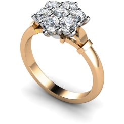 HRRTR241 Round Cluster 7 Stone Diamond Ring - rose