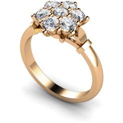 HRRTR241 Round Cluster 7 Stone Diamond Ring - rose