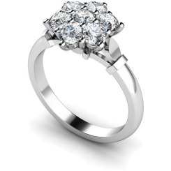 HRRTR241 Round Cluster 7 Stone Diamond Ring - white