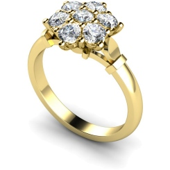 HRRTR241 Round Cluster 7 Stone Diamond Ring - yellow