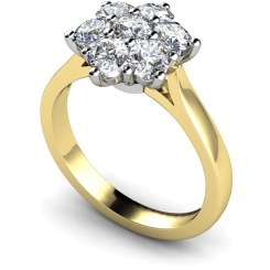 HRRTR244 Round Cluster 7 Stone Diamond Ring - yellow