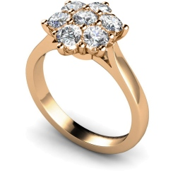 HRRTR244 Round Cluster 7 Stone Diamond Ring - rose