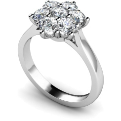 HRRTR244 Round Cluster 7 Stone Diamond Ring - white