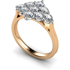 HRRTR248 Round 9 Stone Diamond Ring - rose