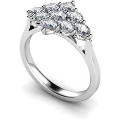 HRRTR248 Round 9 Stone Diamond Ring - white