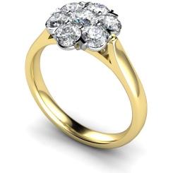 HRRTR253 Round Cluster 7 Stone Diamond Ring - yellow