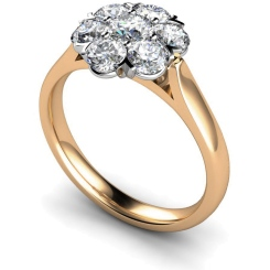 HRRTR253 Round Cluster 7 Stone Diamond Ring - rose