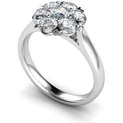 HRRTR253 Round Cluster 7 Stone Diamond Ring - white
