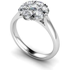 HRRTR253 Round Cluster 7 Stone Diamond Ring - white