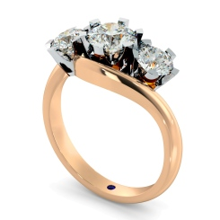 HRRTR258 Round 3 Stone Diamond Ring - rose