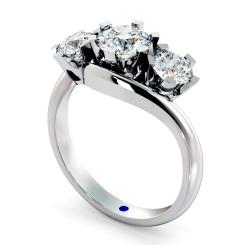 HRRTR258 Round 3 Stone Diamond Ring - white