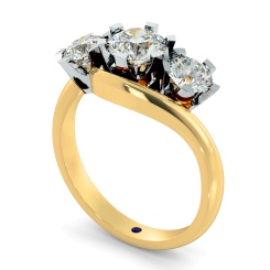 HRRTR258 Round 3 Stone Diamond Ring - yellow