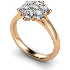 HRRTR259 Round Cluster 7 Stone Diamond Ring - rose