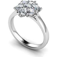 HRRTR259 Round Cluster 7 Stone Diamond Ring - white