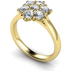 HRRTR259 Round Cluster 7 Stone Diamond Ring - yellow