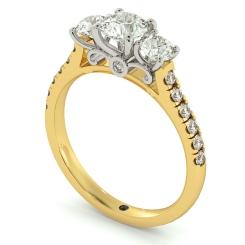 HRRTR732 Round cut Designer 3 Stone Diamond Engagement Ring - yellow